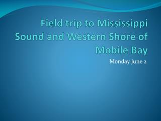 Field trip to Mississippi Sound and Western Shore of Mobile Bay