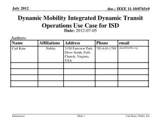 Dynamic Mobility Integrated Dynamic Transit Operations Use Case for ISD