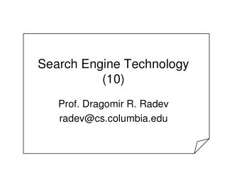 Search Engine Technology 10