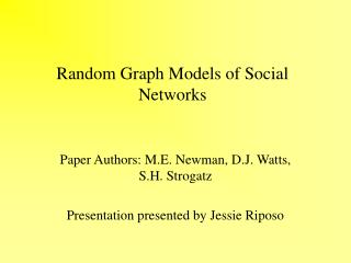 Random Graph Models of Social Networks