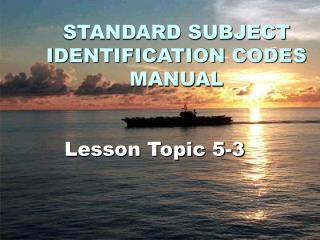 STANDARD SUBJECT IDENTIFICATION CODES MANUAL