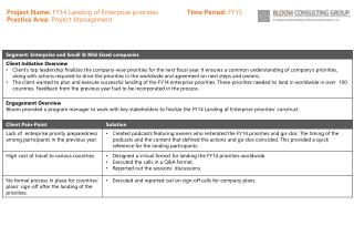 Project Name:  FY14 Landing of Enterprise priorities                 Time Period:  FY13