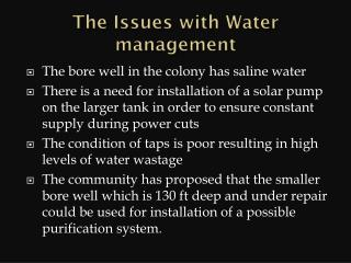 The Issues with Water management