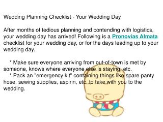 Wedding Planning Checklist - Your Wedding Day