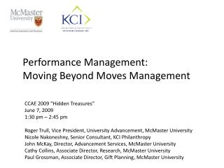 Performance  Management:  Moving  Beyond Moves Management