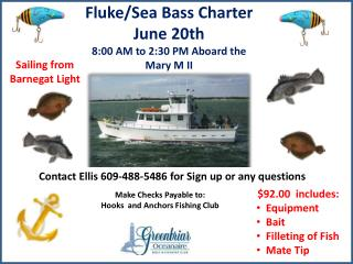 Fluke/Sea Bass Charter June 20th 8:00 AM to  2:30  PM Aboard the Mary M  II
