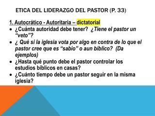 ETICA del liderazgo del pastor (p. 33)