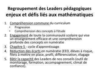 Regroupement des Leaders pédagogiques enjeux et défis liés  aux  mathématiques