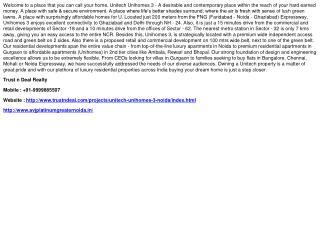 Unitech Unihomes 3 Noida, 9999885507, Unitech Unihomes Secto
