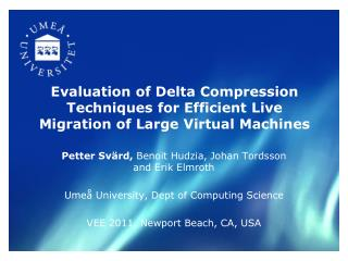 Evaluation of Delta Compression Techniques for Efficient Live Migration of Large Virtual Machines