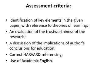 Assessment criteria: