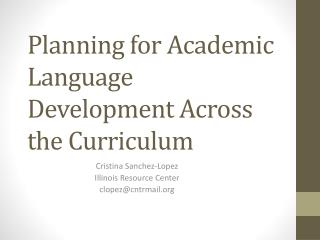 Planning for Academic Language Development Across the Curriculum