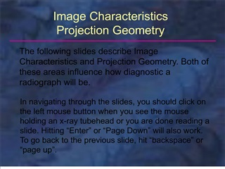 Image Characteristics - College of Dentistry