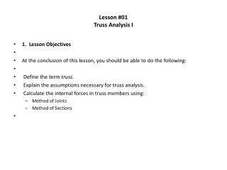 Lesson #01 Truss Analysis I