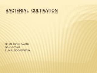 BACTERIAL  CULTIVATION