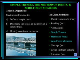 SIMPLE TRUSSES, THE METHOD OF JOINTS, & ZERO-FORCE MEMBERS