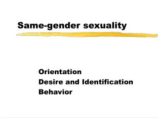 Same-gender sexuality