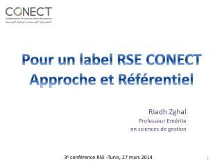 Riadh Zghal Professeur Em�rite  en sciences de gestion