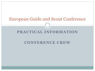 European Guide  and Scout Conference