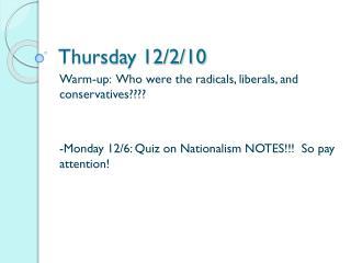 Thursday 12/2/10