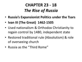 CHAPTER  23 - 18 The Rise of Russia