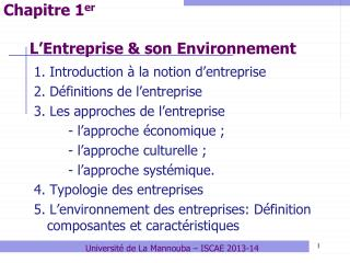 L'Entreprise & son Environnement