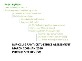 NSF-CCLI Grant: CDTL-Ethics Assessment March 2009-Jan 2010 Purdue Site Review