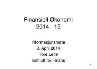 Finansiell Økonomi  2014 - 15
