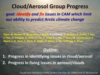 Cloud/Aerosol Group Progress