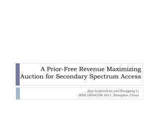 A Prior-Free Revenue Maximizing Auction for Secondary Spectrum Access