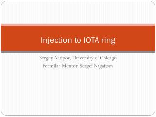 Injection to IOTA ring