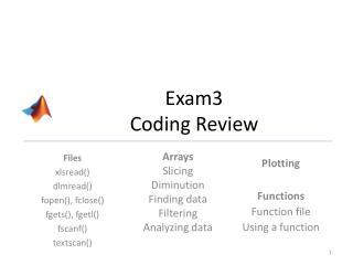 Exam3 Coding Review