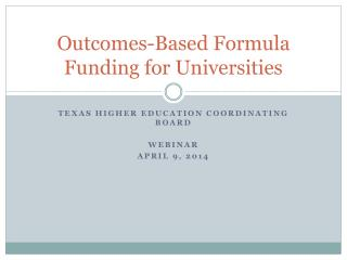Outcomes-Based Formula Funding for Universities