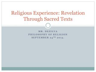 Religious Experience: Revelation Through Sacred Texts