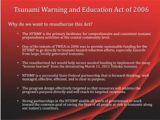 Tsunami Warning and Education Act of 2006