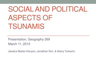 Social and political Aspects of Tsunamis