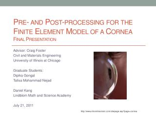 Pre- and Post-processing for the Finite Element Model of a Cornea Final Presentation