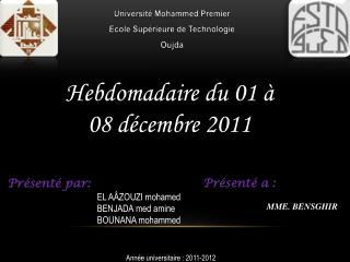 Université Mohammed Premier Ecole Supérieure de Technologie Oujda