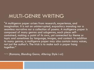 Multi-Genre Writing