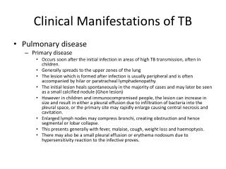 Clinical Manifestations of TB