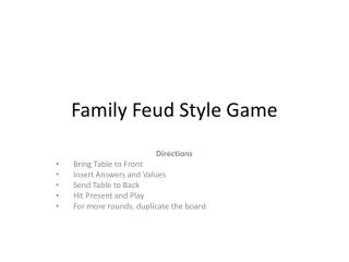 Family Feud Style Game