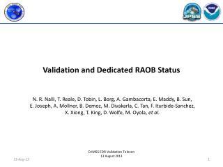 Validation and Dedicated RAOB Status