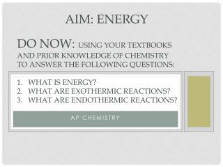 Aim: ENERGY