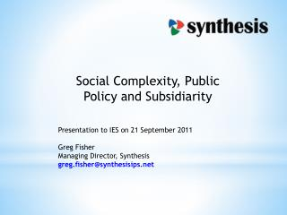 Social Complexity, Public Policy and Subsidiarity
