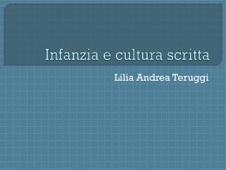 Infanzia e cultura scritta