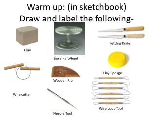 Warm up: (in sketchbook) Draw and label the following-