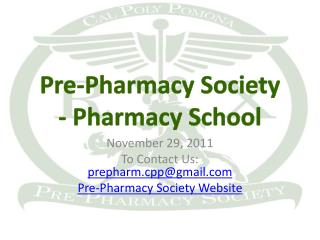 Pre-Pharmacy  Society - Pharmacy School
