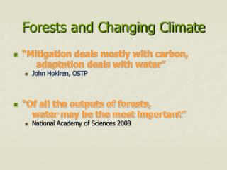 Forests and Changing Climate