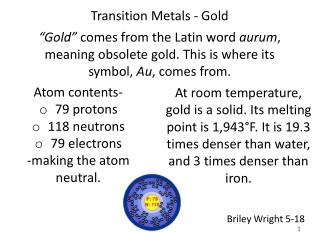 Transition Metals - Gold