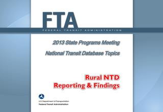 2013  State Programs Meeting National Transit Database Topics